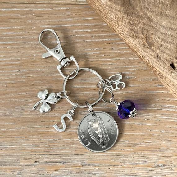 Irish 50th birthday gift, Birthstone charm clip, 1971 coin bag clip charm, choice of initial and birthstone colour