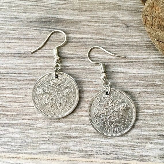 Sixpence earrings, Choose between Sterling silver or stainless steel ear wires, choose sixpence year