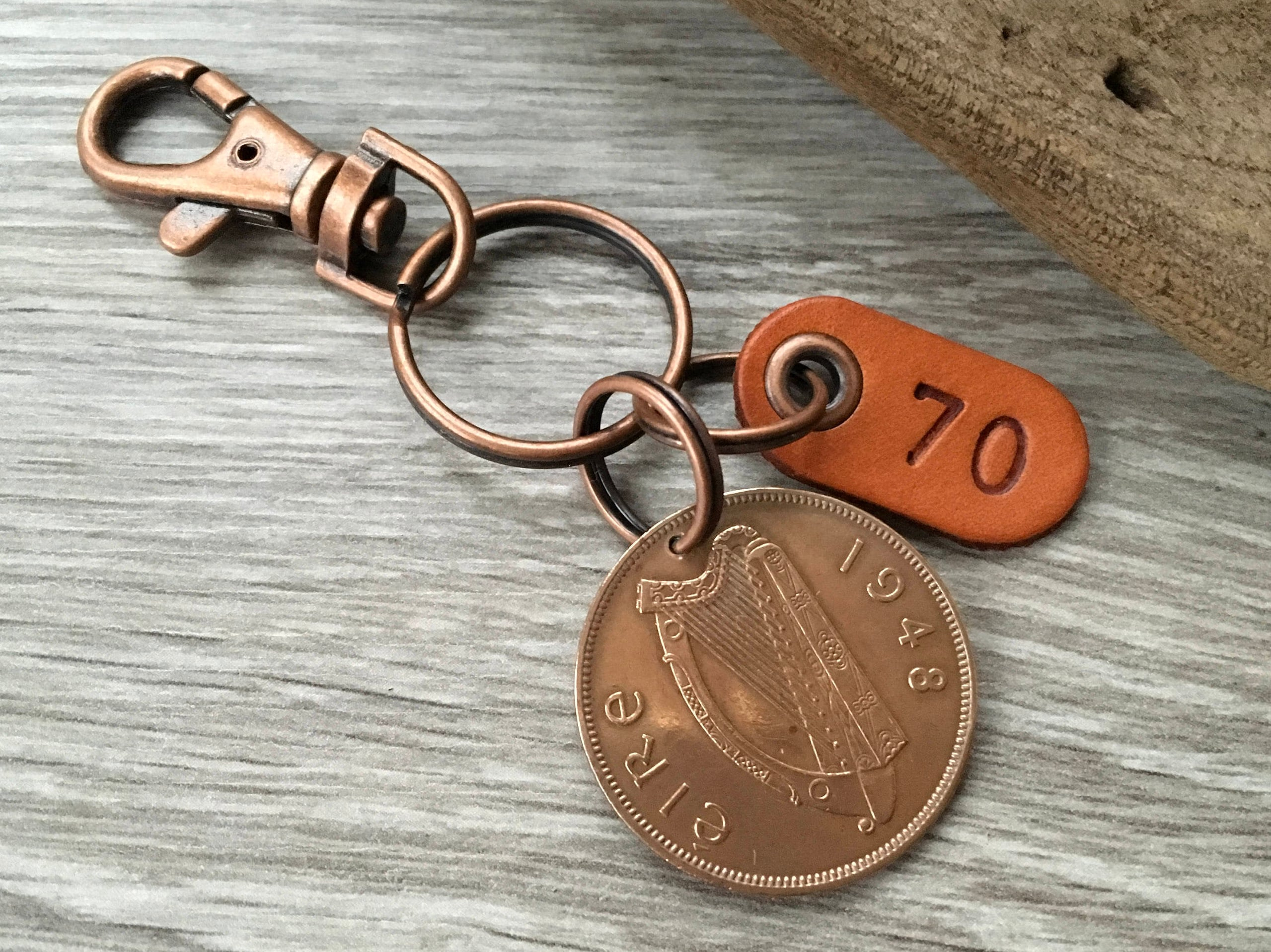 70th Birthday Gift 1948 Or 1949 Irish Penny Keychain Harp Coin Keyring Good Luck 70 Years Bag Charm Anniversary Present Man Woman Him