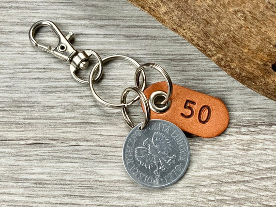1970 Polish coin keyring, 50 Groszy keychain, poland 50th birthday gift or Anniversary present for a man or woman
