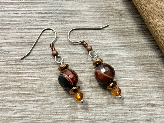Brown agate earrings with copper plated hematite beads and stainless steel ear wires