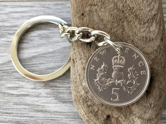 1975 or 1977 British coin keychain or clip, Scottish thistle keyring, 43rd or 45th birthday gift, Scotland present for man or woman