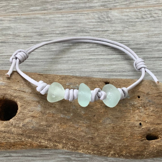 Natural sea glass and lilac/grey leather bracelet, knotted adjustable leather cord, beach glass jewellery