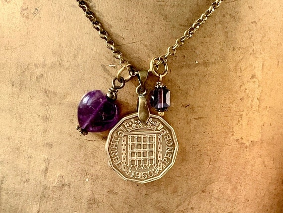 British threppence necklace, purple amethyst pendant, 1957, 1958, 1959 or 1960 Choose coin year for a perfect birthday gift for a woman
