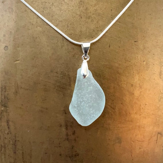 Natural sea glass pendant, Cornwall beach glass necklace, mermaids tears, sea glass jewelry, birthday gift for her, wife, girlfriend