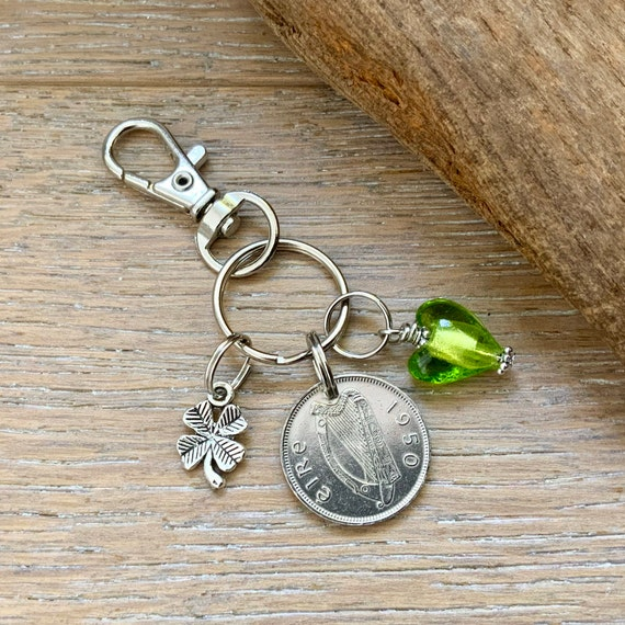 1950 Irish sixpence clip, keying or keychain, Ireland birthday present Anniversary gift for a woman