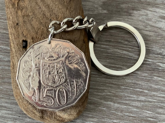Australian fifty cent coin keyring, 1979, 1980 or 1981 choose coin year for a perfect birthday or anniversary gift