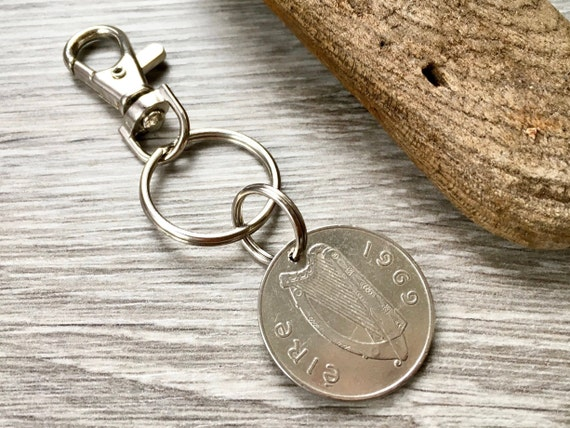 1969 Irish coin keyring or clip, salmon keychain, 50th Birthday or anniversary present for a man or woman