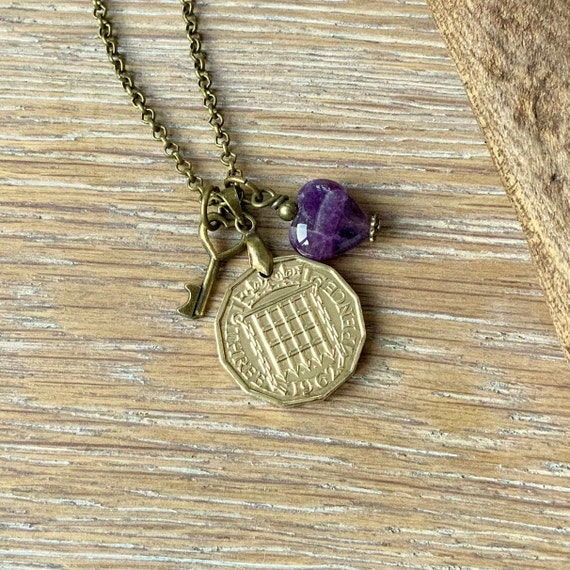 Vintage British coin and Amethyst heart necklace, choose from 1962, 1963 or 1964 English coin For 55th, 56th or 57th birthday or anniversary