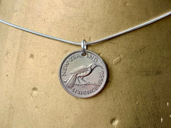 70th birthday gift, 1950 New Zealand sixpence coin necklace, lucky coin pendant, retirement present for a woman