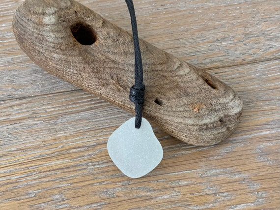Simple sea glass necklace, adjustable waxed cotton cord, genuine beach glass pendant, boho no metal jewellery for men or women
