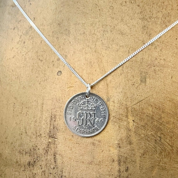 74th or 75th birthday gift, 1945 or 1946 sixpence necklace, sterling silver chain, British coin pendant, English present woman, mum, grandma