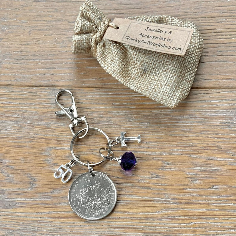 birthstone and initial France anniversary present for woman 50th birthday gift 1971 French 5 Franc coin bag charm clip