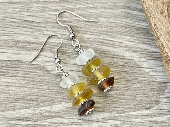 Brown and yellow sea glass earrings, handmade using genuine beach glass and stainless steel ear wires, unusual gift for a woman