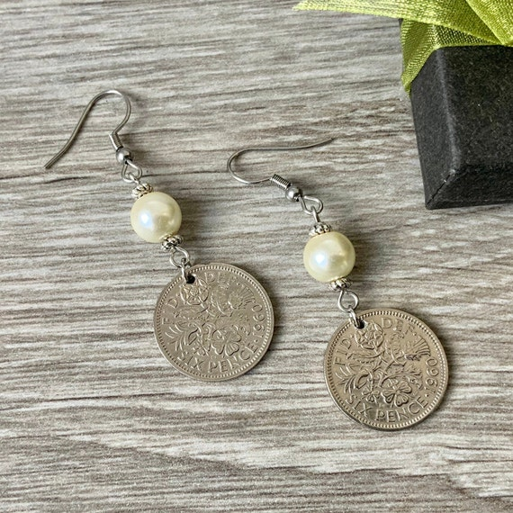 Long sixpence and pearl earrings, 1960, 1961 or 1962 choose coin year, a perfect 58th, 59th or 60th birthday or anniversary gift