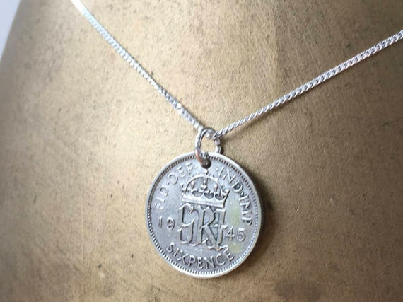 73rd or 74th birthday gift, 1945 or 1946 sixpence necklace, sterling silver chain, British coin pendant, English present woman, mum, grandma