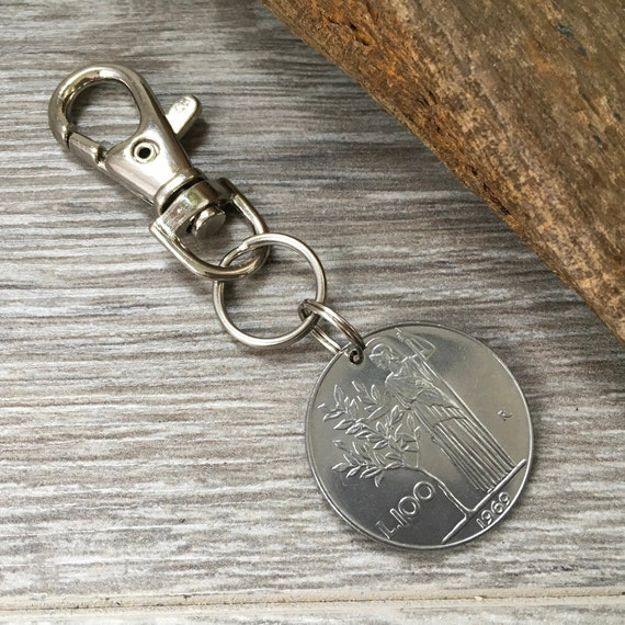 1969 Italian coin key ring or clip, 50th birthday gift, Italy key chain, 100 Lire key fob, anniversary present for a man or woman