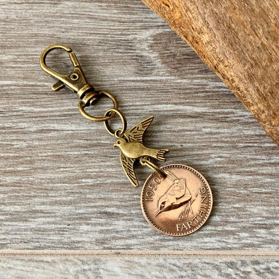 Farthing coin keyring, wren bird Keychain or clip, Choose coin year from the drop down menu