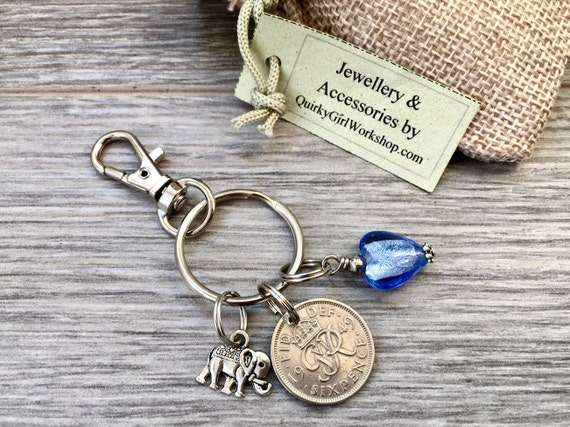 1949 Lucky sixpence keychain, keyring, lucky bag clip, 70th birthday gift woman