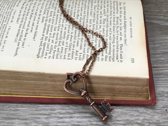Long key necklace skeleton key pendant, 21st or 18th birthday gift, classic simple chain Jewelry, vintage governess inspired, rustic copper,