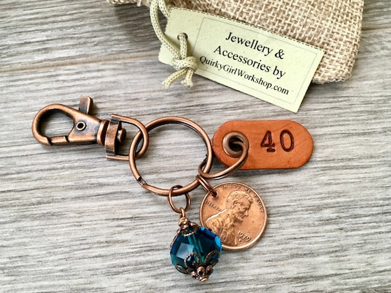40th birthday gift for, 1979 USA coin keychain, American one cent keyring, lucky penny clip, anniversary, present for a wife, woman, sister