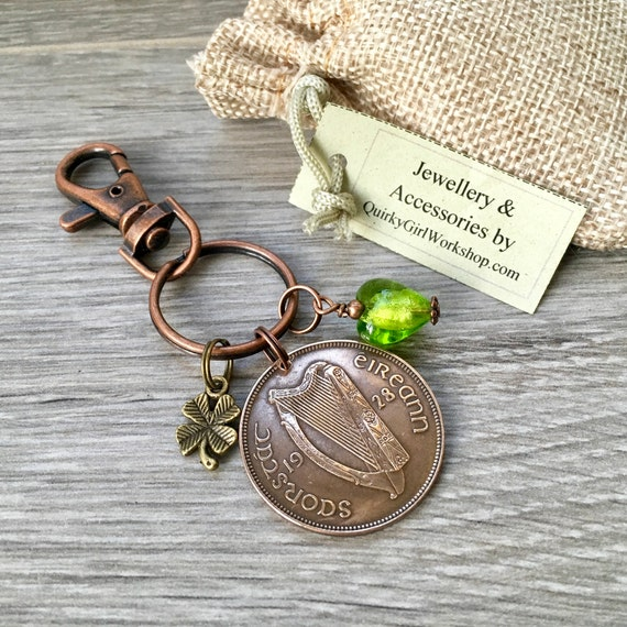 Irish penny keyring or charm clip, 1928 or 1931 choose coin year