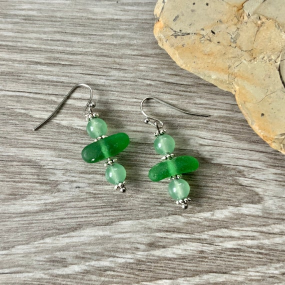 sea glass earrings, jade earrings, green sea glass, English beach glass jewellery, gift for a woman wife or girlfriend