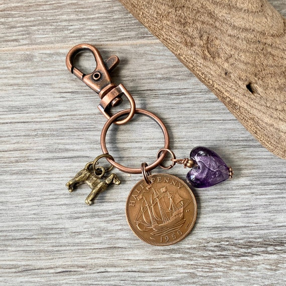 1950 british coin keyring or charm clip, UK half penny, 69th birthday gift, choose charm
