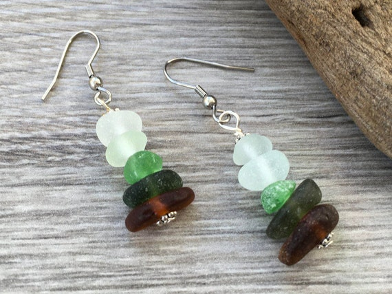 Natural ombré sea glass earrings, found beach glass earrings, mermaids tears, stainless steel ear wires, sea glass jewelry, boho, hippie,