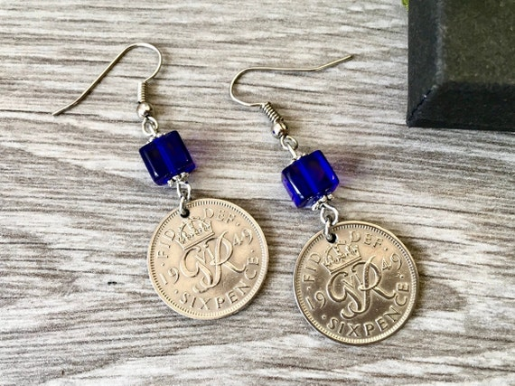 Sixpence dangle earrings, lucky British sixpence, choose coin year for a perfect birthday, anniversary or good luck gift for a woman