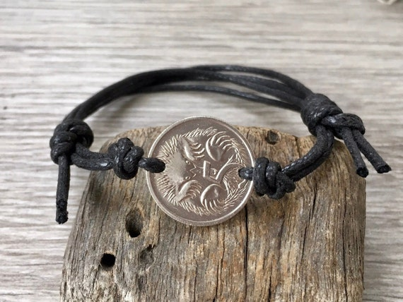 Australian coin adjustable bracelet handmade with either black leather or cotton cord, choose year for a birthday or anniversary gift