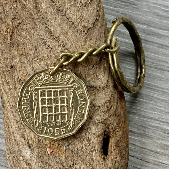 Vintage threepence key ring or clip, choose coin year for a perfect birthday or anniversary gift