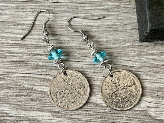 Long lucky sixpence earrings, 1953 - 1967 choose coin year, aquamarine blue dangle earring, birthday or anniversary gift for a woman