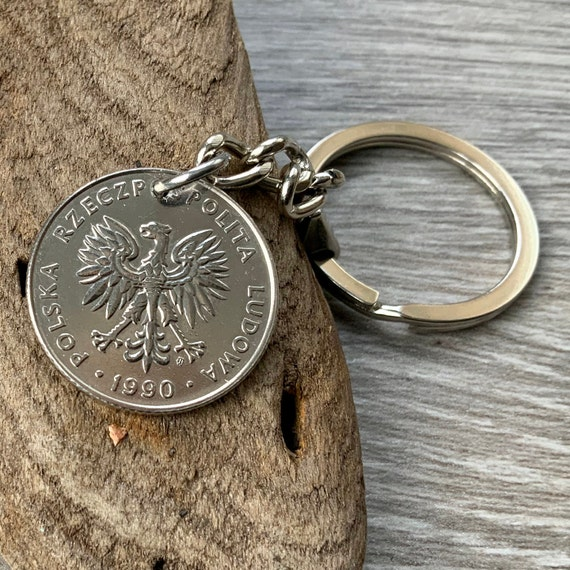 1990 polish coin keyring 20 zlotych keychain Poland 30th birthday or Anniversary present man, woman, brother, husband
