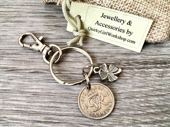 Lucky sixpence keychain, keyring, handbag clip, purse charm, choose year for a perfect birthday, Anniversary, retirement or good luck gift