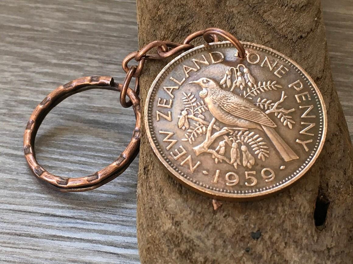 59th Birthday Gift 1959 New Zealand Coin Keyring Tui Bird Keychain