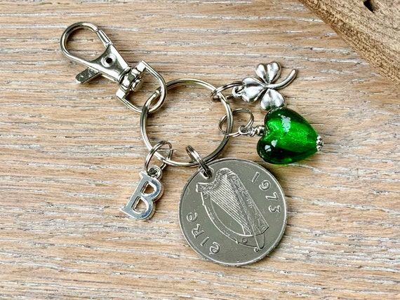 A lucky Irish 1973 ten pence coin keychain or purse charm