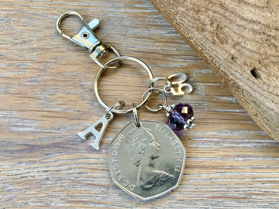 50th birthday gift, 1970 British 50 pence coin bag charm clip, birthstone and initial present, UK anniversary,  for woman