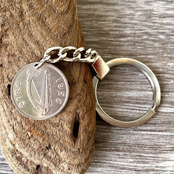 1955 or 1956 Irish sixpence keychain, keyring or clip, Irish wolfhound coin choose coin year for a perfect birthday gift