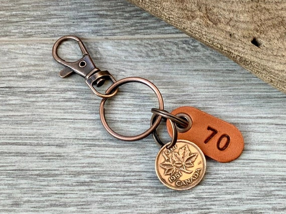 70th birthday gift, 1951 Canadian penny keychain, Canada one cent keyring, lucky maple leaf penny clip