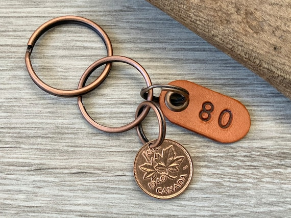 80th birthday gift, 1940 Canadian coin keychain, Canada one cent keyring, lucky maple leaf penny clip