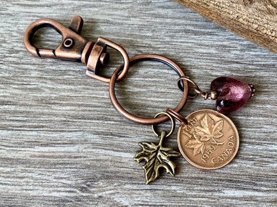 Canada coin keyring, 60th birthday gift, choose year, maple leaf keychain, Canadian penny bag clip, purse charm
