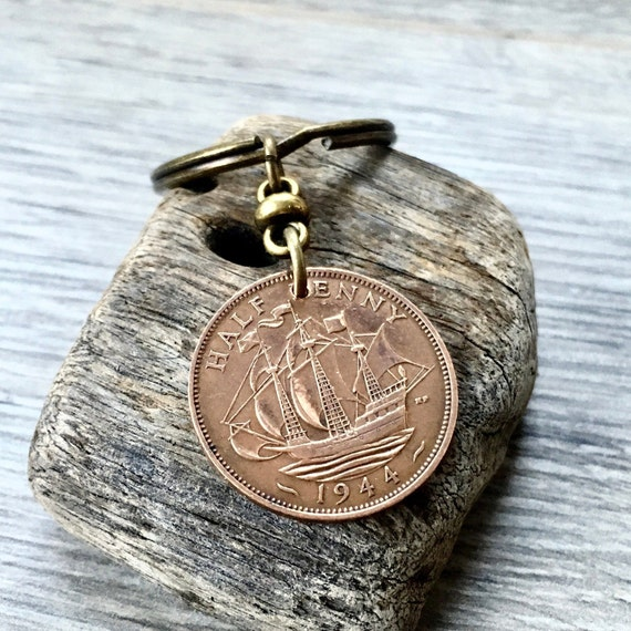 1943 or 1944 British coin keychain, English sailing ship keyring or clip, 75th birthday gift for a man or woman