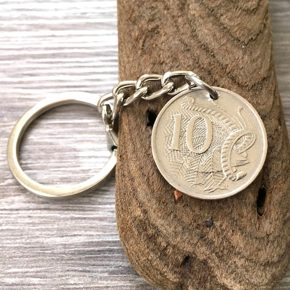 1989 or 1990 Australian coin keyring, choose coin year, 30th OZ birthday or anniversary gift, Australia keychain, Aussie present