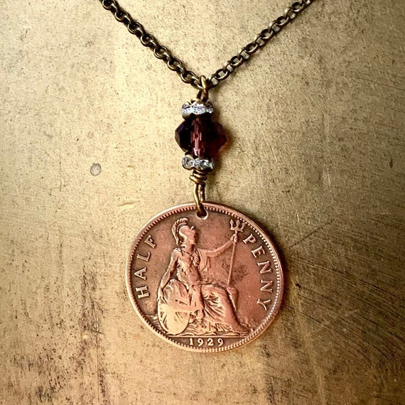 90th birthday gift, 1929 British half penny pendant, English sailing ship coin necklace, present for her, woman, grandma, mum, aunt