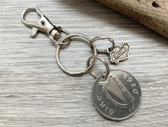 1980 Irish ten pence coin and Ireland map keyring, keychain or clip, a perfect birthday or anniversary gift