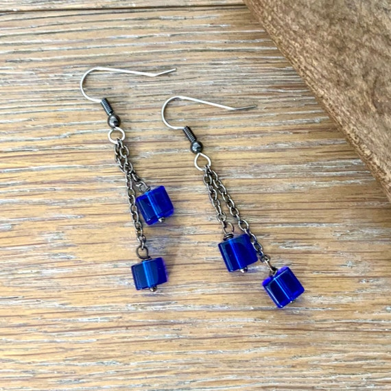 Blue long dangle earrings, handmade with glass cube beads and stainless steel ear wires,