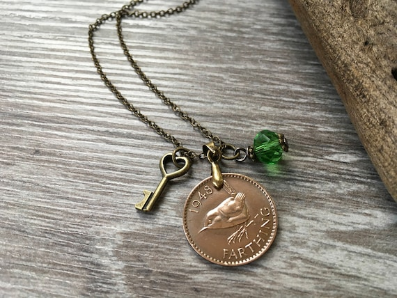 wren farthing coin necklace, 1940 - 1950 choose coin year, British English bird pendant, keepsake present for her, woman, mum, grandma