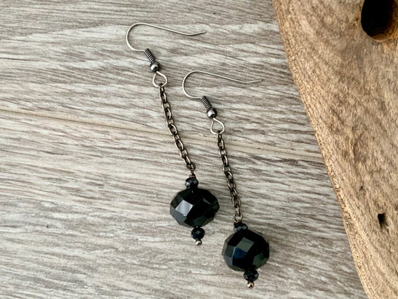 Long black earrings handmade with faceted black cut glass beads and stainless steel ear wires