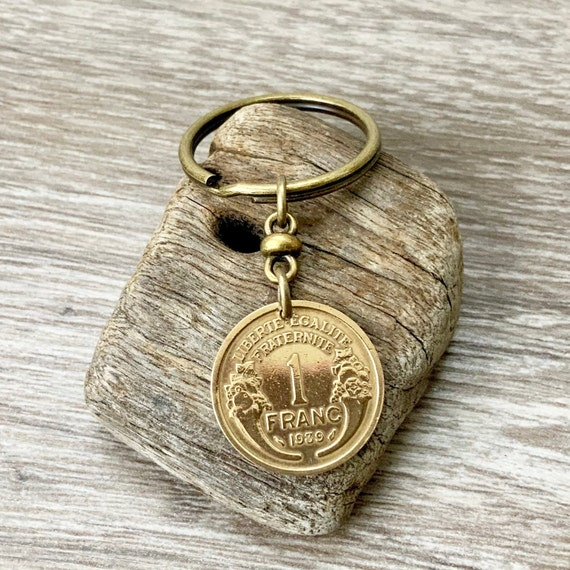 80th birthday gift, 1939 French coin key ring, key chain, 1 franc France, present for a man or woman